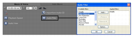 Corel Videostudio audio audio filters Applying audio filters