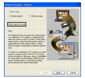 Corel Videostudio share project playback Playing back your project