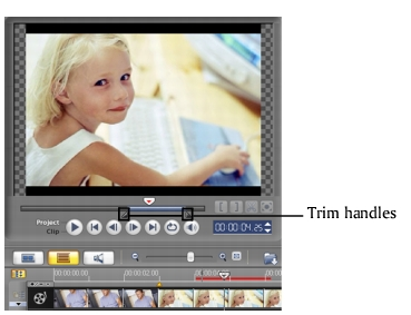 Corel Videostudio share trim bar Creating and saving a video file