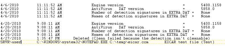 McAfee VirusScan oas log file scrn Viewing the on access activity log file