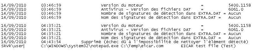 McAfee VirusScan oas log file scrn Affichage du journal dactivité à laccès