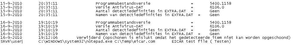 McAfee VirusScan oas log file scrn Het logboekbestand voor activiteiten bij toegang weergeven