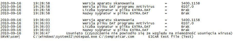 McAfee VirusScan oas log file scrn Wyświetlanie pliku dziennika operacji podczas uzyskiwania dostępu