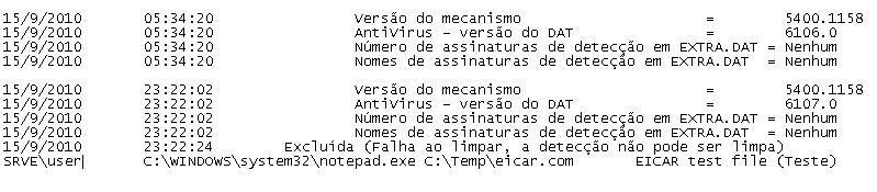 McAfee VirusScan oas log file scrn Exibição do arquivo de registro de atividade ao acessar