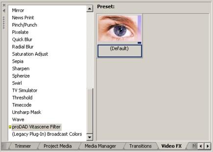 Vitascene vegas effekt1 Plugin als Videoeffekt