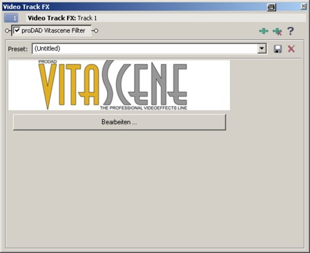 Vitascene vegas effekt2 Plugin als Videoeffekt