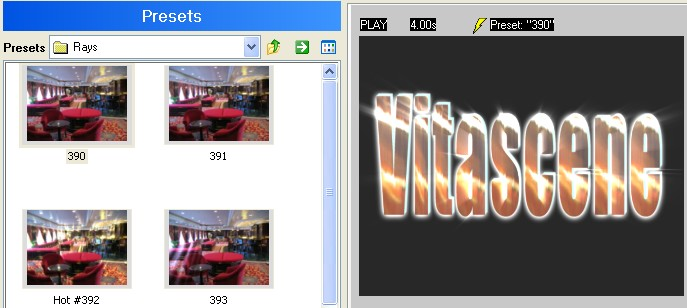 Vitascene eng vita85 Text with Ray filter and Key frames