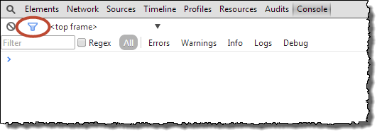 Web Studio Help browser console chrome filtertools Use the activity log