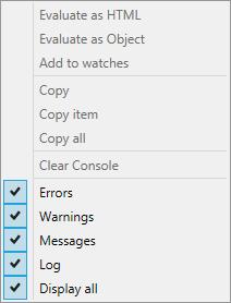 Web Studio Help browser console internetexplorer shortcut Use the activity log