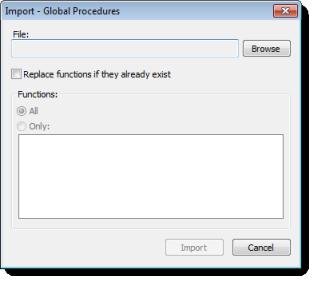 Web Studio Help dialog globalprocedures import Global Procedures