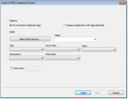 Web Studio Help dialog importwizard odbc ...ODBC Databases
