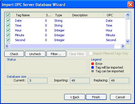 Web Studio Help dialog importwizard opc 2 Using the Import Wizard