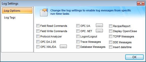 Web Studio Help dialog logsettings options Output (LogWin)