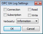 Web Studio Help dialog logsettings options opcualogsettings Output (LogWin)
