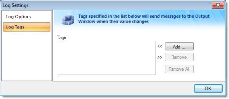 Web Studio Help dialog logsettings tags Output (LogWin)