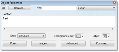 Web Studio Help dialog objectproperties button Button object