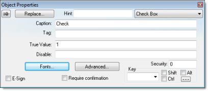 Web Studio Help dialog objectproperties checkbox Check Box object