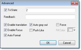 Web Studio Help dialog objectproperties checkbox advanced Check Box object