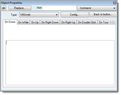 Web Studio Help dialog objectproperties command Add a Touch Event to a screen object