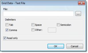 Web Studio Help dialog objectproperties grid datasources textfile Combo Box object
