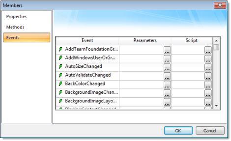 Web Studio Help dialog objectproperties netcontrol members events .NET Control object