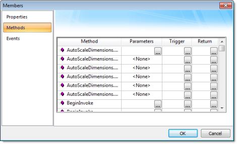 Web Studio Help dialog objectproperties netcontrol members methods .NET Control object