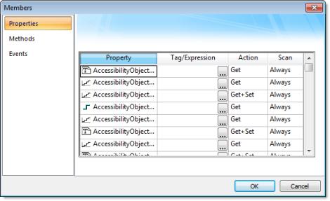 Web Studio Help dialog objectproperties netcontrol members properties .NET Control object