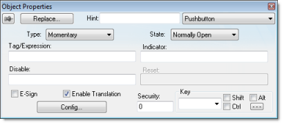 Web Studio Help dialog objectproperties pushbutton Pushbutton object