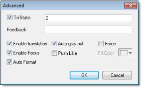 Web Studio Help dialog objectproperties radiobutton advanced Radio Button object