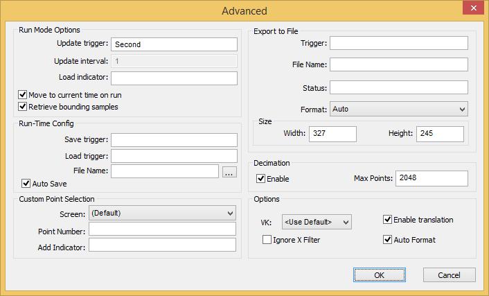 Web Studio Help dialog objectproperties trendcontrol advanced Advanced