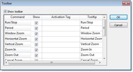 Web Studio Help dialog objectproperties trendcontrol toolbar Toolbar