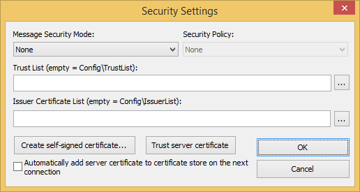 Web Studio Help dialog opcua security Connect to an OPC UA server using self signed certificates