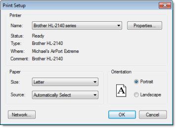 Web Studio Help dialog printsetup Print Setup