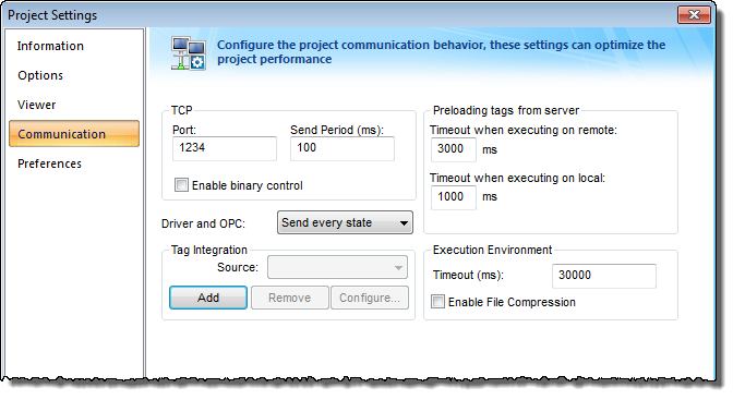 Web Studio Help dialog projectsettings communication Configuring the Data Server