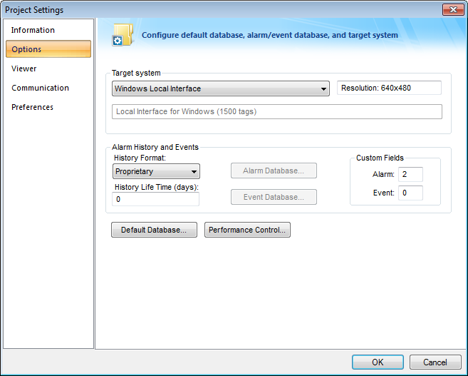 Web Studio Help dialog projectsettings options Alarm History and Events