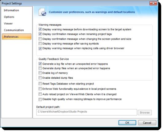 Web Studio Help dialog projectsettings preferences Preferences tab