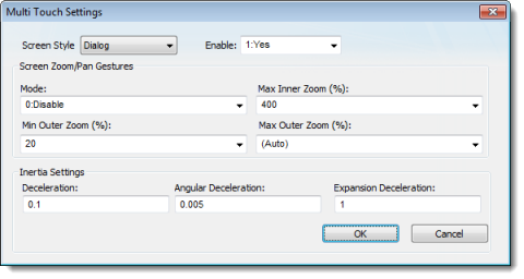 Web Studio Help dialog projectsettings viewer multitouch Configure the default Multi Touch settings for all screens