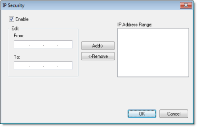 Web Studio Help dialog projectsettings web ipsecurity Implementing Security