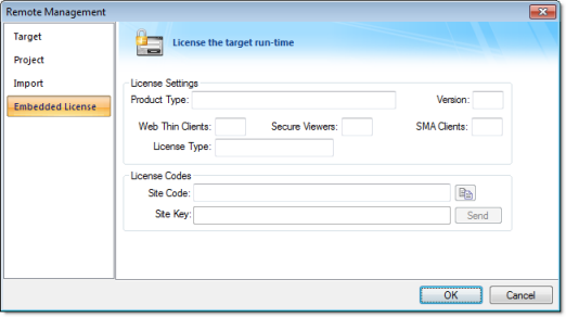 Web Studio Help dialog remotemanagement embeddedlicense Install or upgrade a softkey license for EmbeddedView or CEView (Remote)
