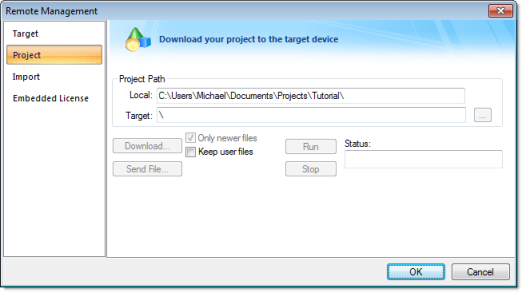 Web Studio Help dialog remotemanagement project Download your project to the target device