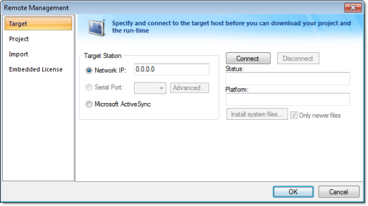 Web Studio Help dialog remotemanagement target Install EmbeddedView or CEView on a target device