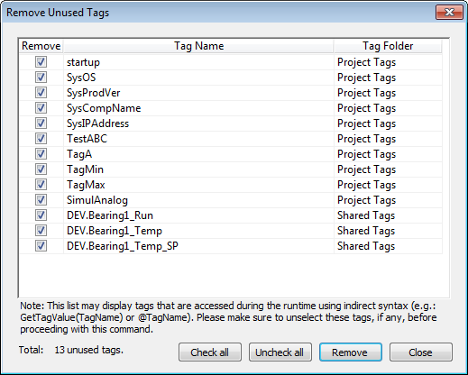 Web Studio Help dialog removeunusedtags Remove unused tags