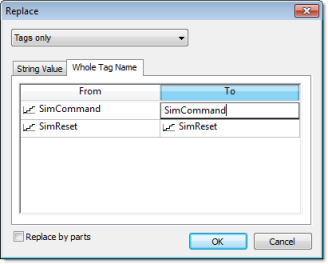Web Studio Help dialog replace wholetagname Replace