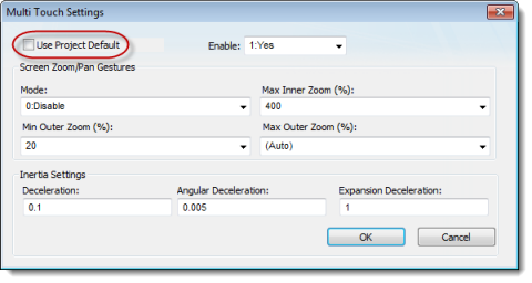 Web Studio Help dialog screenattributes multitouch Configure the Multi Touch settings for a specific screen