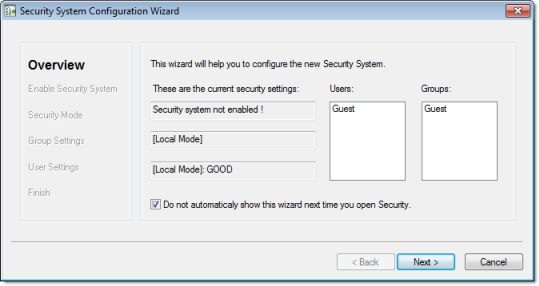 Web Studio Help dialog security configurationwizard 1 Using the security system configuration wizard