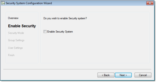 Web Studio Help dialog security configurationwizard 2 Using the security system configuration wizard
