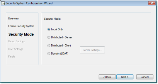 Web Studio Help dialog security configurationwizard 3 Using the security system configuration wizard