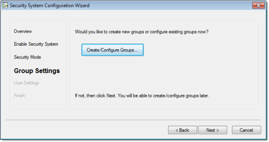 Web Studio Help dialog security configurationwizard 4 Using the security system configuration wizard