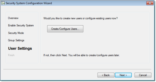 Web Studio Help dialog security configurationwizard 5 Using the security system configuration wizard