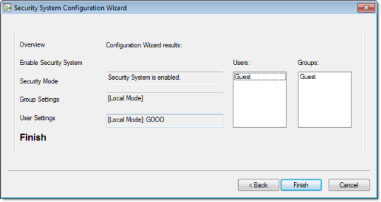 Web Studio Help dialog security configurationwizard 6 Using the security system configuration wizard
